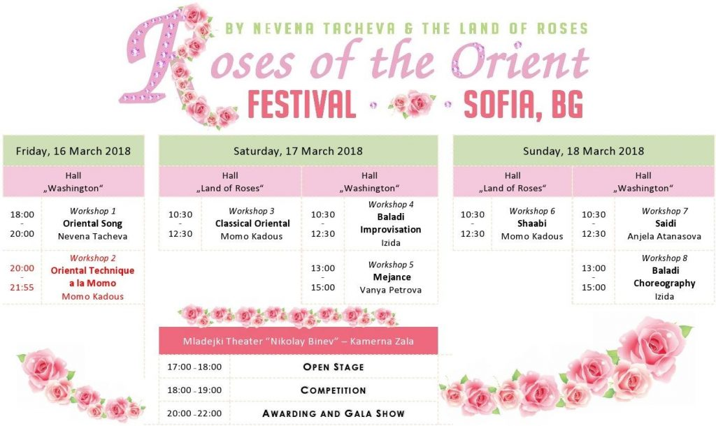 Schedule of belly dance festival Oriental Roses by the Land of Roses in Sofia, Bulgaria